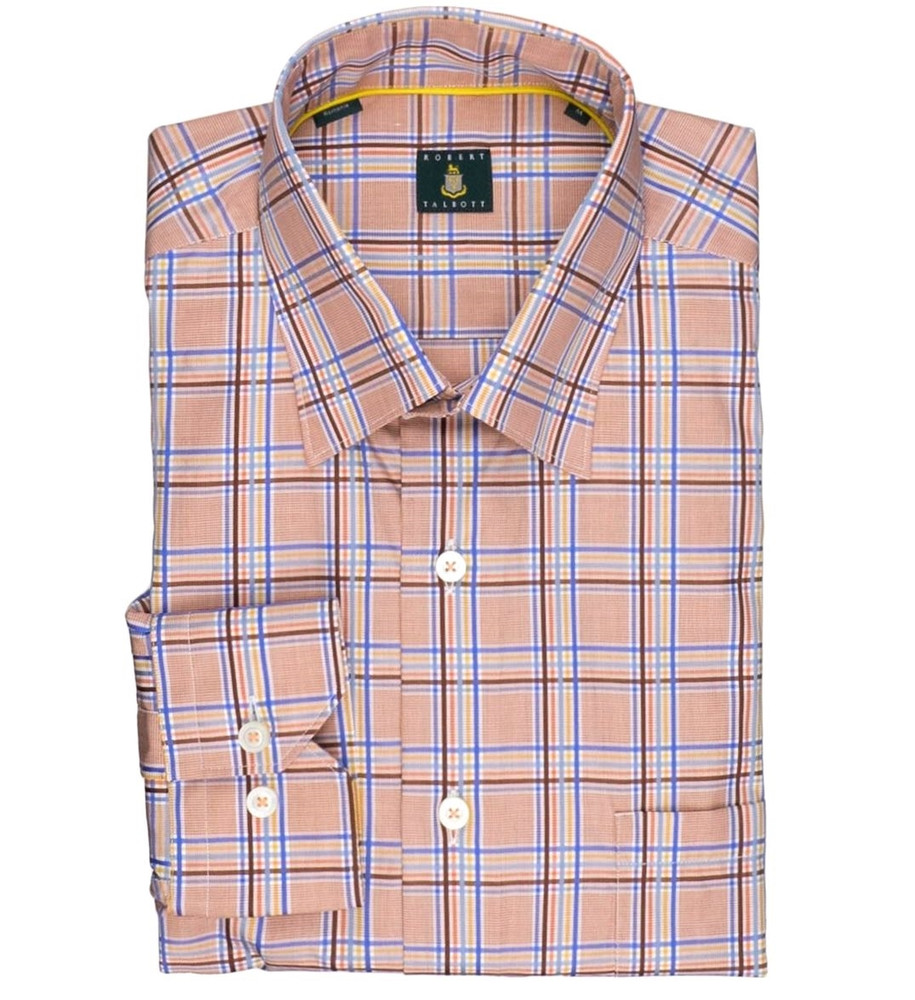 'Anderson' Plaid Sport Shirt in Mango by Robert Talbott