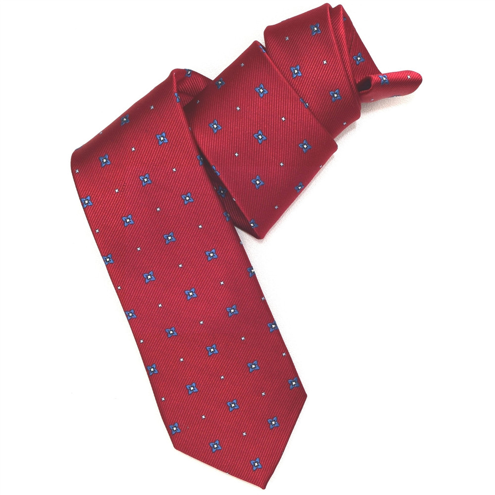 Red and Blue Neat Woven Silk Tie by Robert Jensen