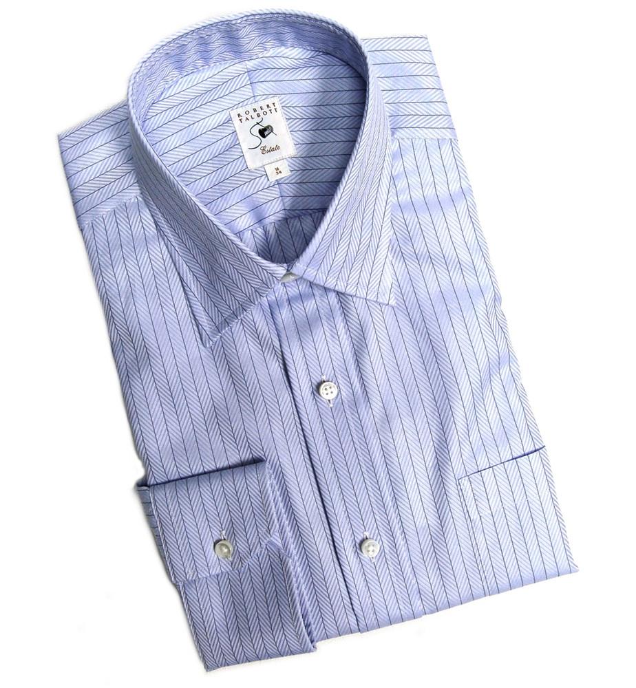 Blue Herringbone Stripe Estate Dress Shirt by Robert Talbott