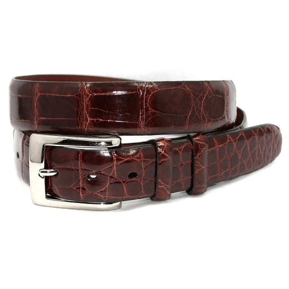 Genuine American Alligator Belt in Cognac by Torino Leather Co.