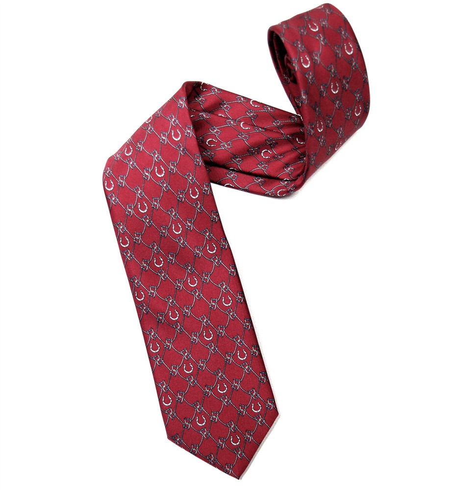 Red and Grey 'Bit and Brace' Silk Tie by Marchesi di Como