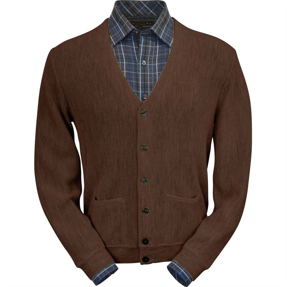 Baby Alpaca Link Stitch Cardigan Sweater in Dark Brown by Peru Unlimited