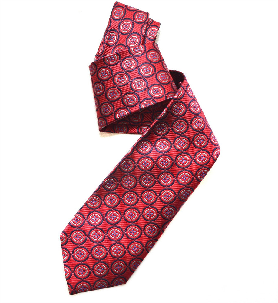 Cherry Red and Blue Medallion Woven Silk Tie by Robert Jensen