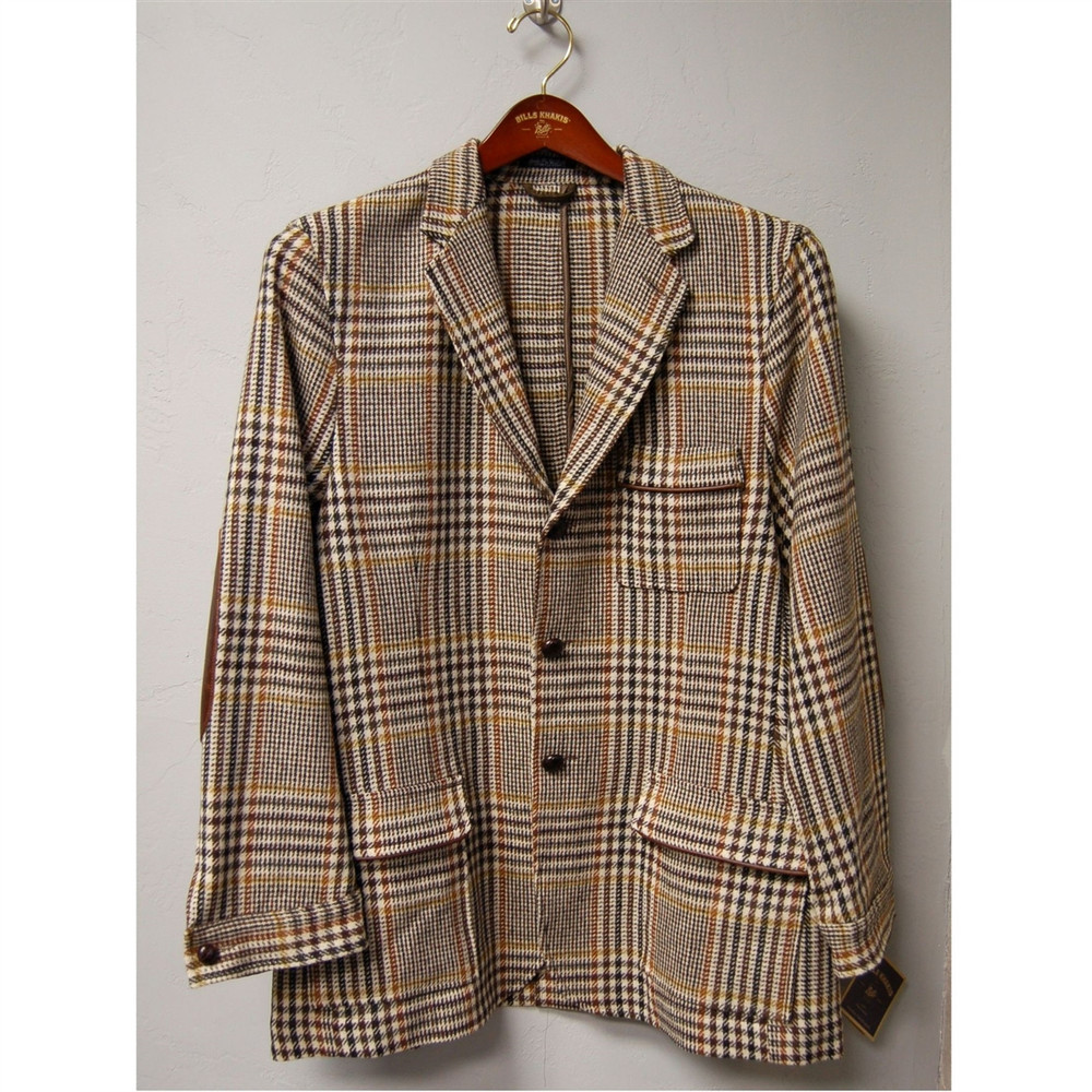 Farmington Wool Brandywine Jacket in Multi Brown Houndstooth (Size Large) by Bills Khakis