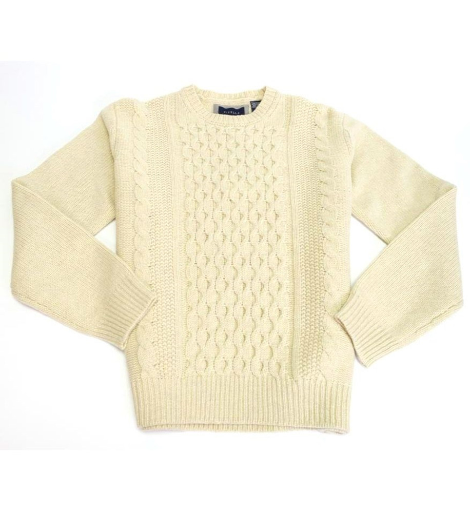 Crew Neck Cable Sweater in Natural by Viyella