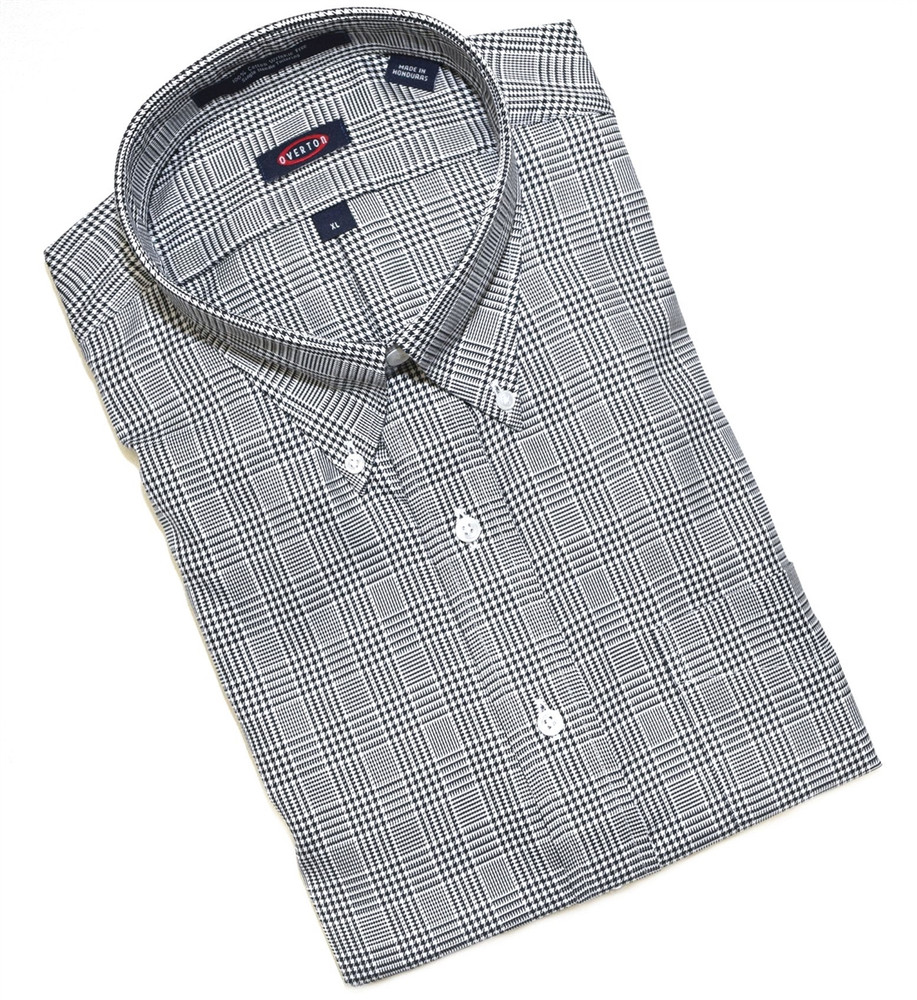 Black and White Houndstooth Button-Down Wrinkle Free Sport Shirt by Overton