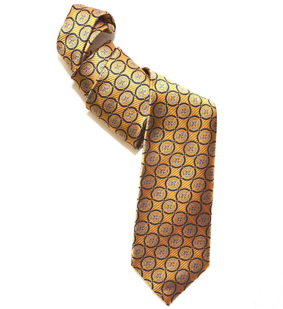 Orange and Blue Medallion Woven Silk Tie by Robert Jensen