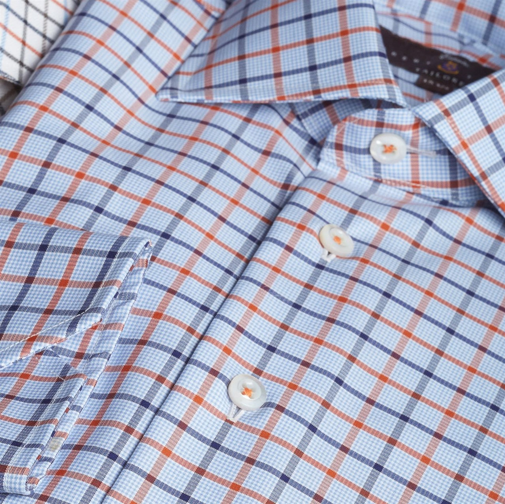 Blue and Rust Check Estate Sport Shirt by Robert Talbott