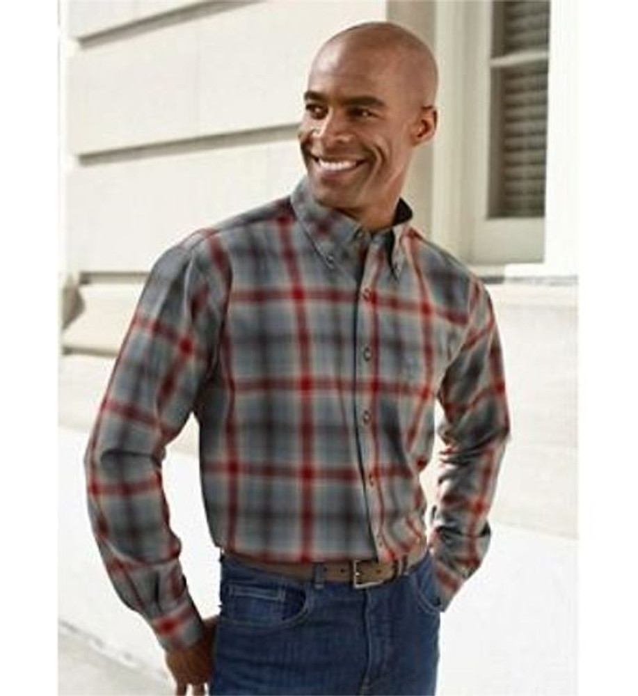 Grey and Red Plaid Sir Pendleton Wool Shirt by Pendleton