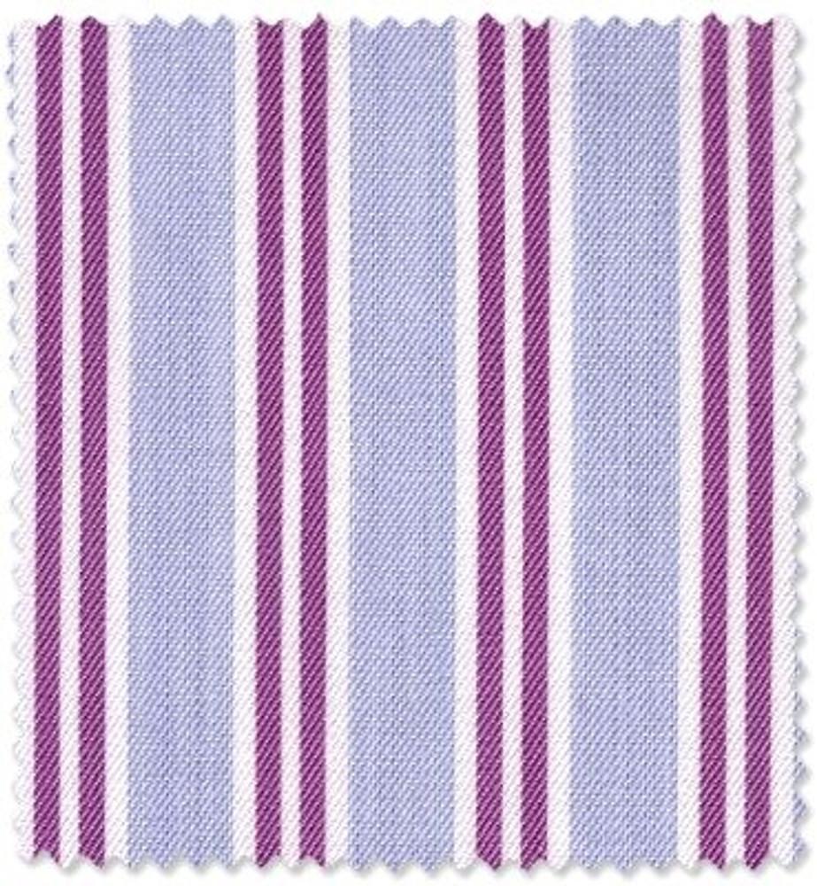 Purple Stripe on Blue 'Royal 140's' Cotton Broadcloth Custom Dress Shirt by  Skip Gambert