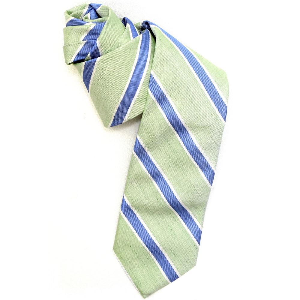 Best of Class Green and Blue Stripe 'Seasonal' Woven Cotton Blend Tie by Robert Talbott