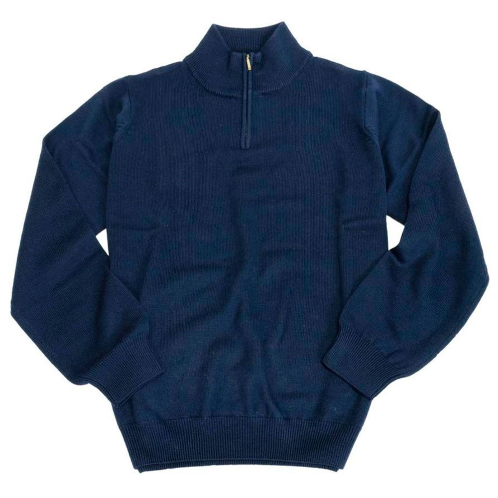 Merino Wool Quarter-Zip Mock Neck Sweater in Navy by Viyella