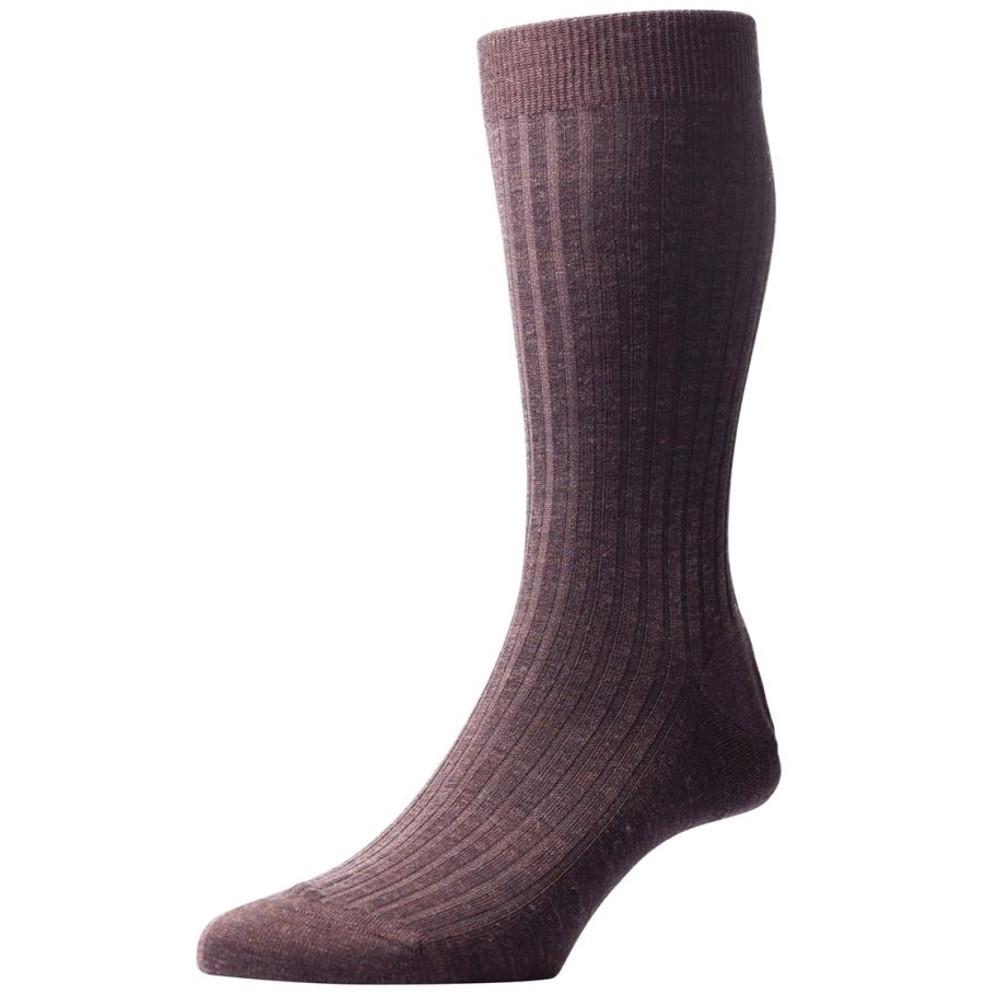 Laburnum - 5x3 Rib Merino Wool Sock in Dark Brown Mix (3 Pair) by Pantherella
