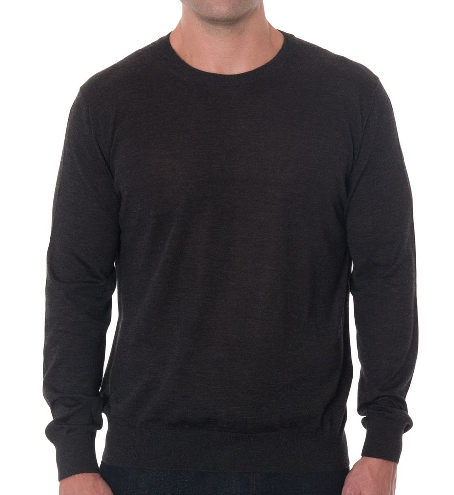 'Tolando' Cashmere Jersey Crew Sweater in Charcoal (Size X-Large) by Robert Talbott