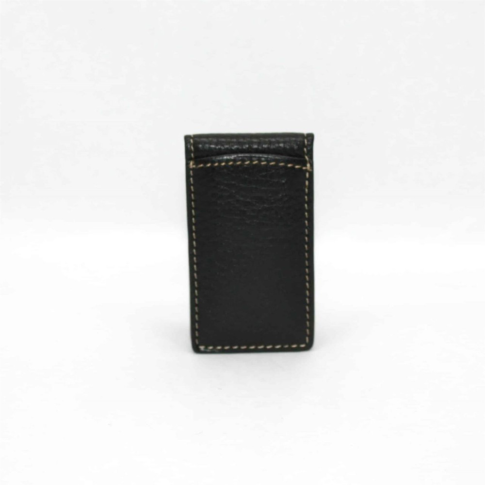 Tumbled Glove Leather Magnetic Money Clip in Black  by Torino Leather Co.