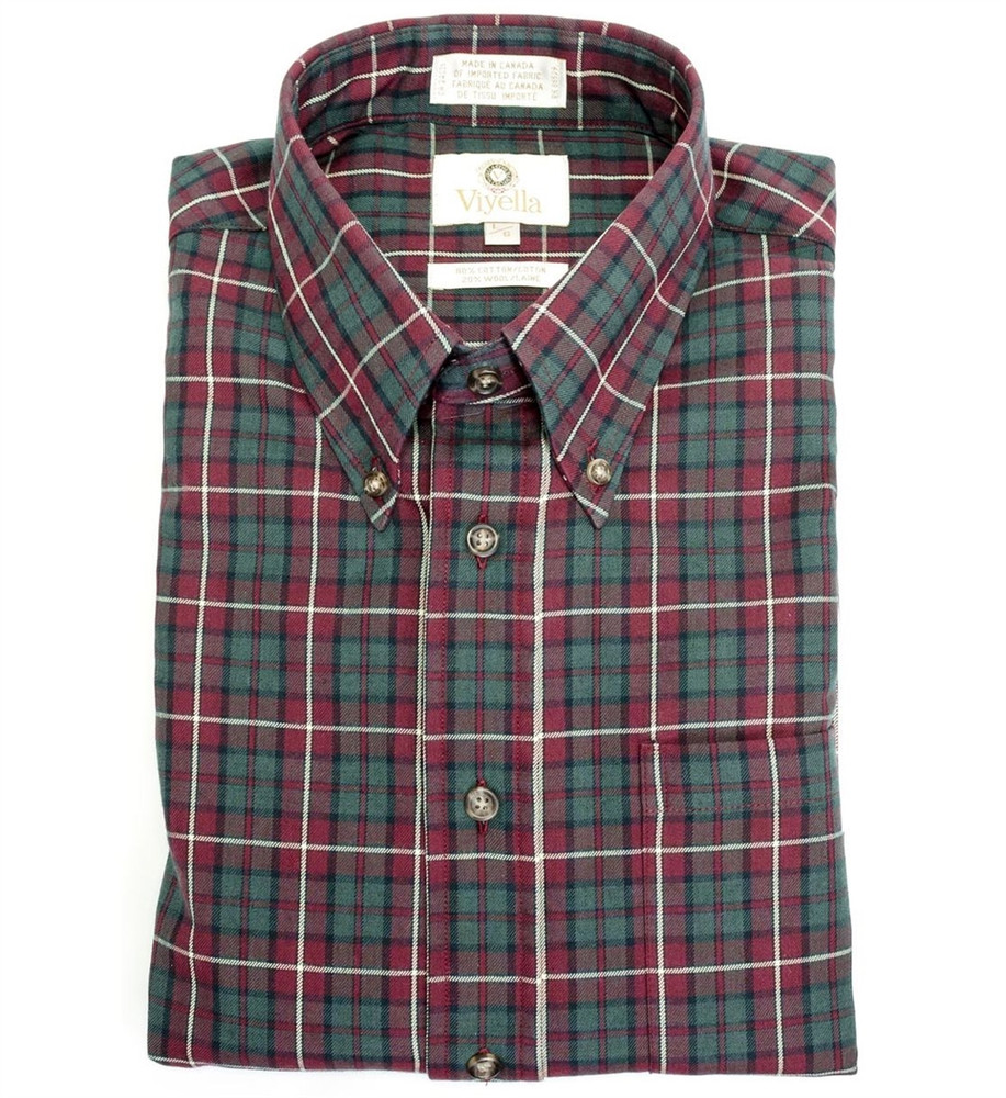 Wine and Sage Plaid Shirt (Size Large) by Viyella