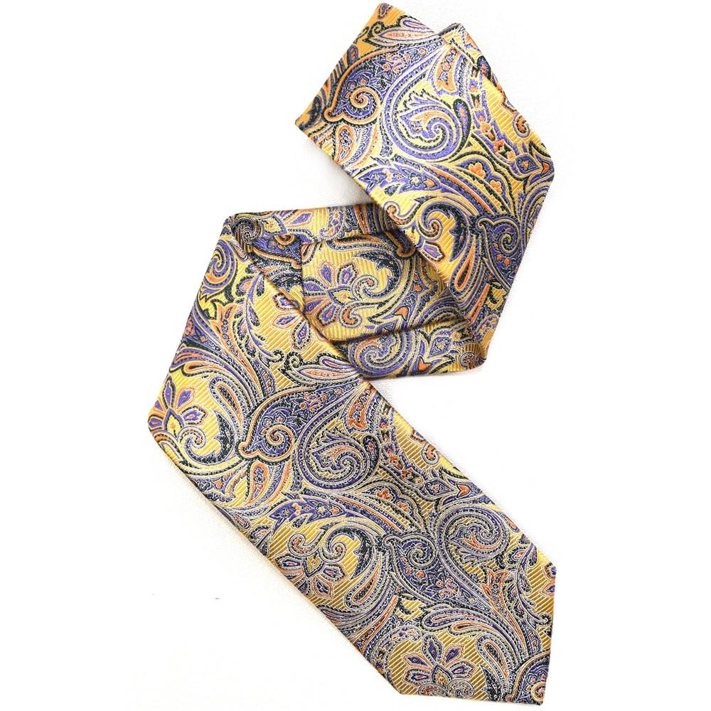 Lemon, Green, and Purple Paisley Woven Silk Tie by Robert Jensen
