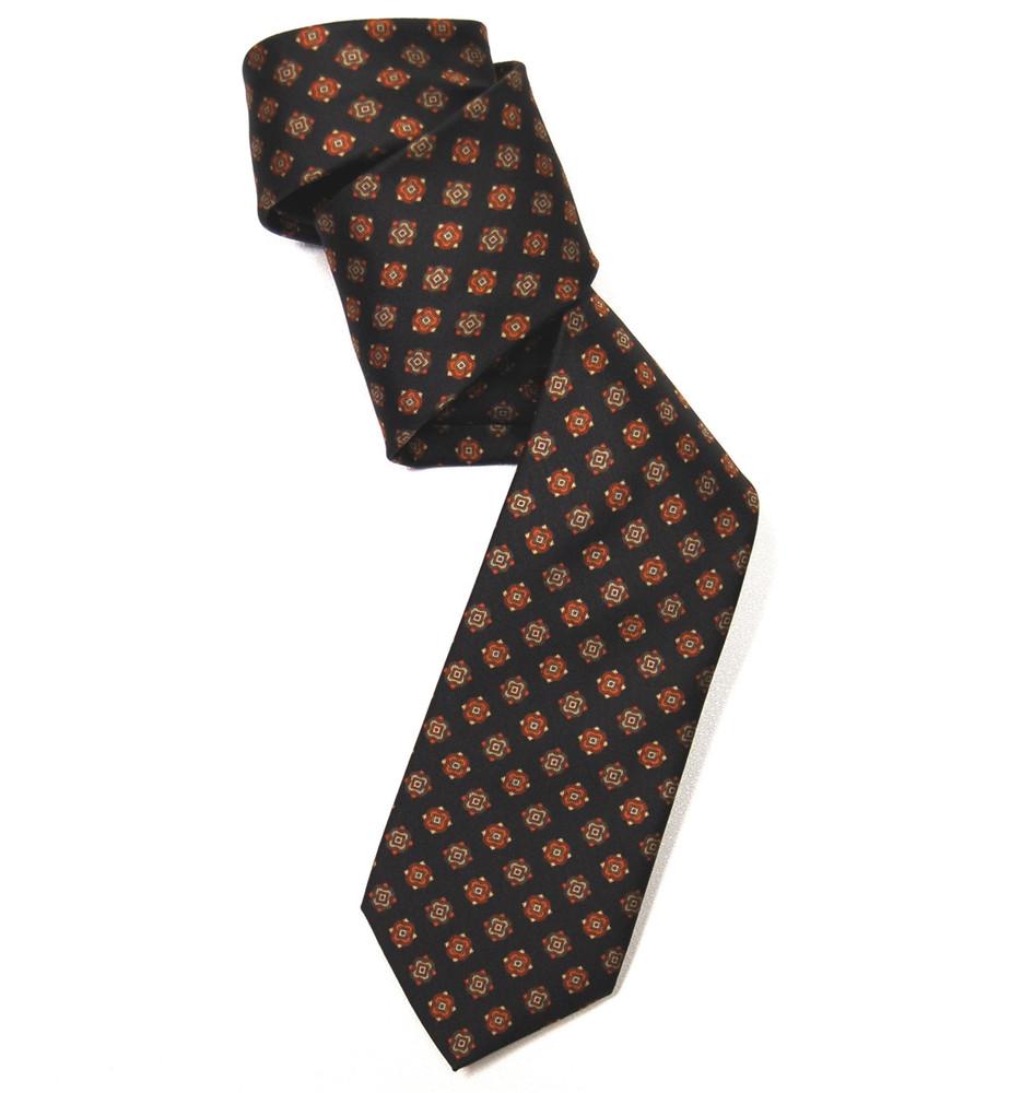 Black and Orange Neat Silk Tie by Marchesi di Como