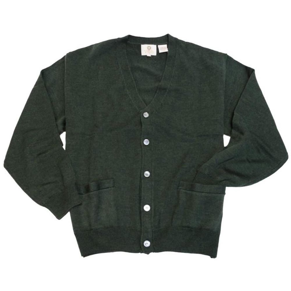 Merino Wool Button-Front V-Neck Cardigan Sweater in Dark Green by Viyella