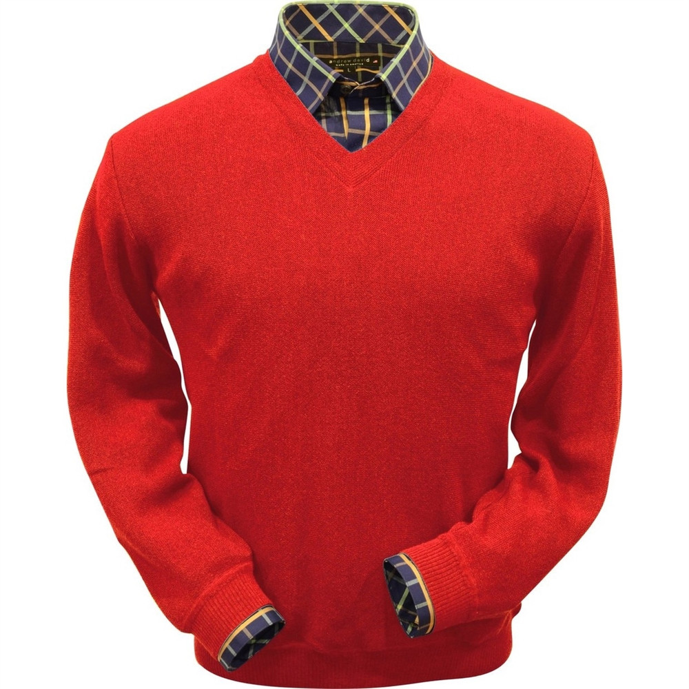 Baby Alpaca Link Stitch V-Neck Sweater in Red by Peru Unlimited
