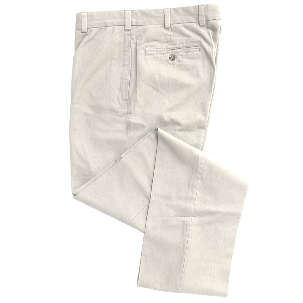 Vintage Twill Pant - Model F2 Standard Fit Plain Front in Stone by Hansen's Khakis