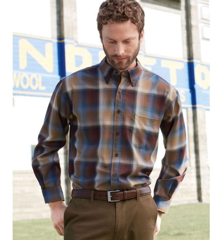 Bronze and Blue Ombre Sir Pendleton Wool Shirt (Size XX-Large) by Pendleton