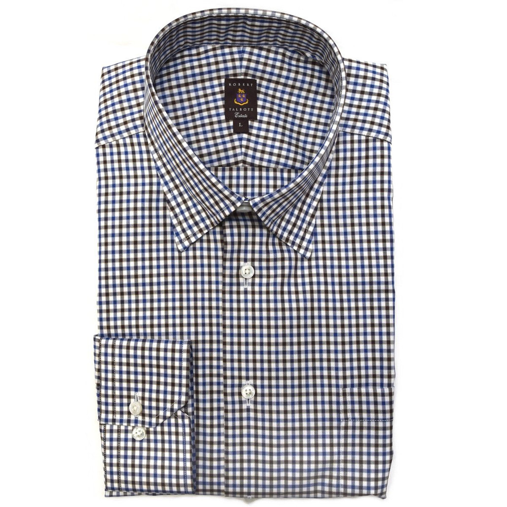 Brown, Navy, and White Check Estate Sport Shirt by Robert Talbott