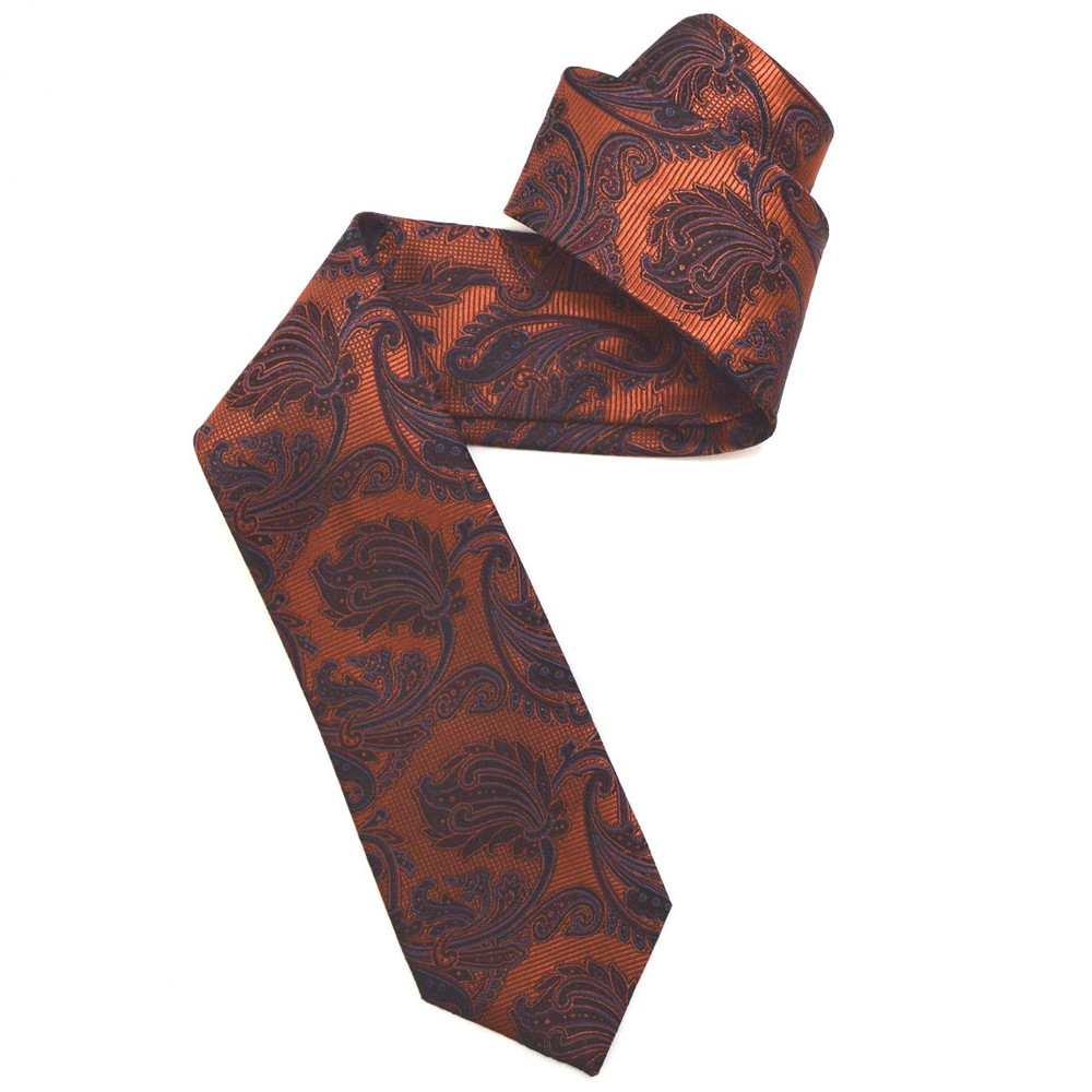 Orange and Black Paisley Woven Silk Tie by Robert Jensen