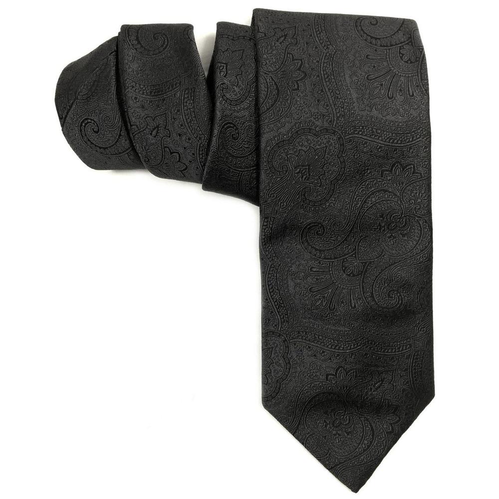 Fall 2016 Black Paisley 'Robert Talbott Protocol' Hand Sewn Woven Silk Tie by Robert Talbott