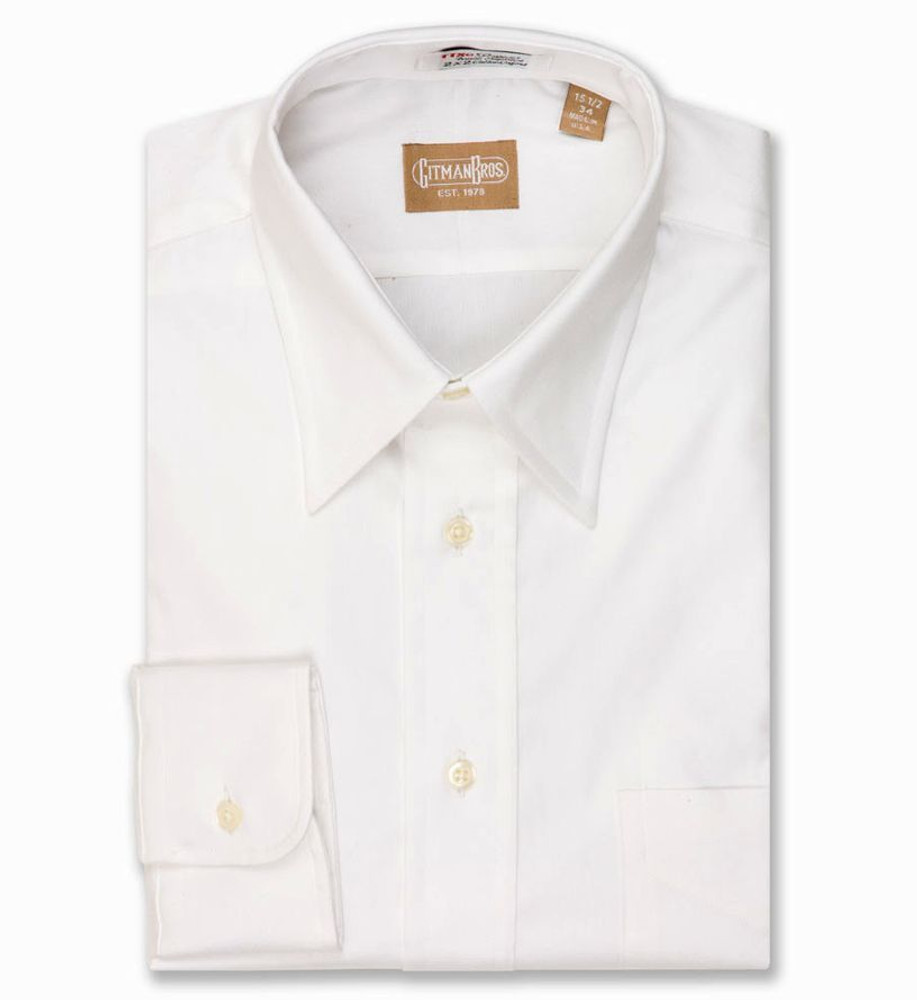 80's 2-Ply Pinpoint Shirt with Point Collar in White (Size 16 - 36) by Gitman Brothers