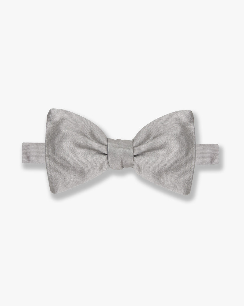 Silk Silver Satin Bow Tie by Gitman Brothers