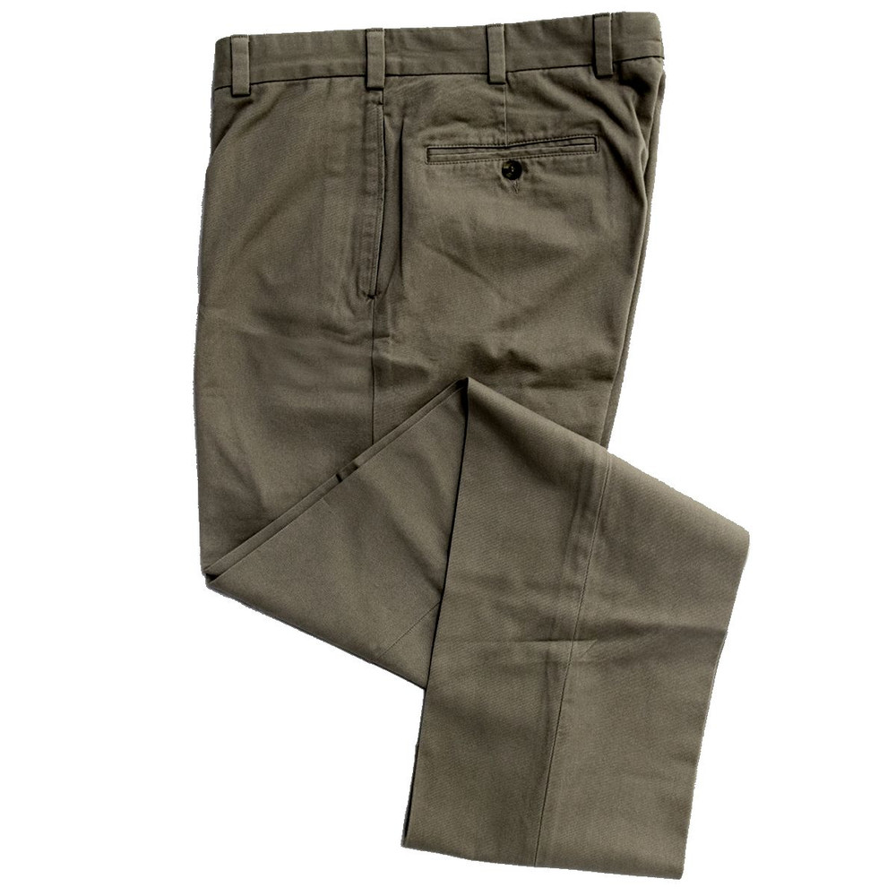 Vintage Twill Pant - Model F1 Relaxed Fit Plain Front in Sage by Hansen's Khakis