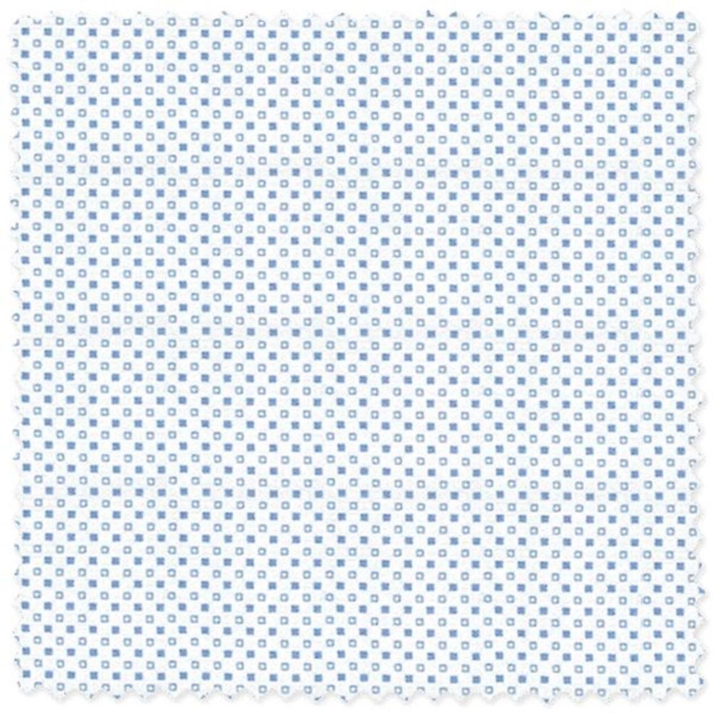 Blue on White Double Square Dot 'Grandi & Rubinelli' Cotton Twill Custom Dress Shirt by Skip Gambert