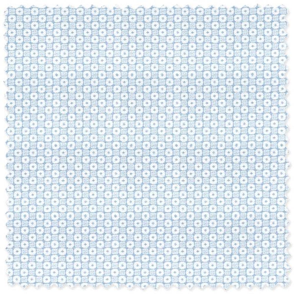 Blue on White Circle and Square 'Grandi & Rubinelli' Cotton Broadcloth Custom Dress Shirt by Skip Gambert