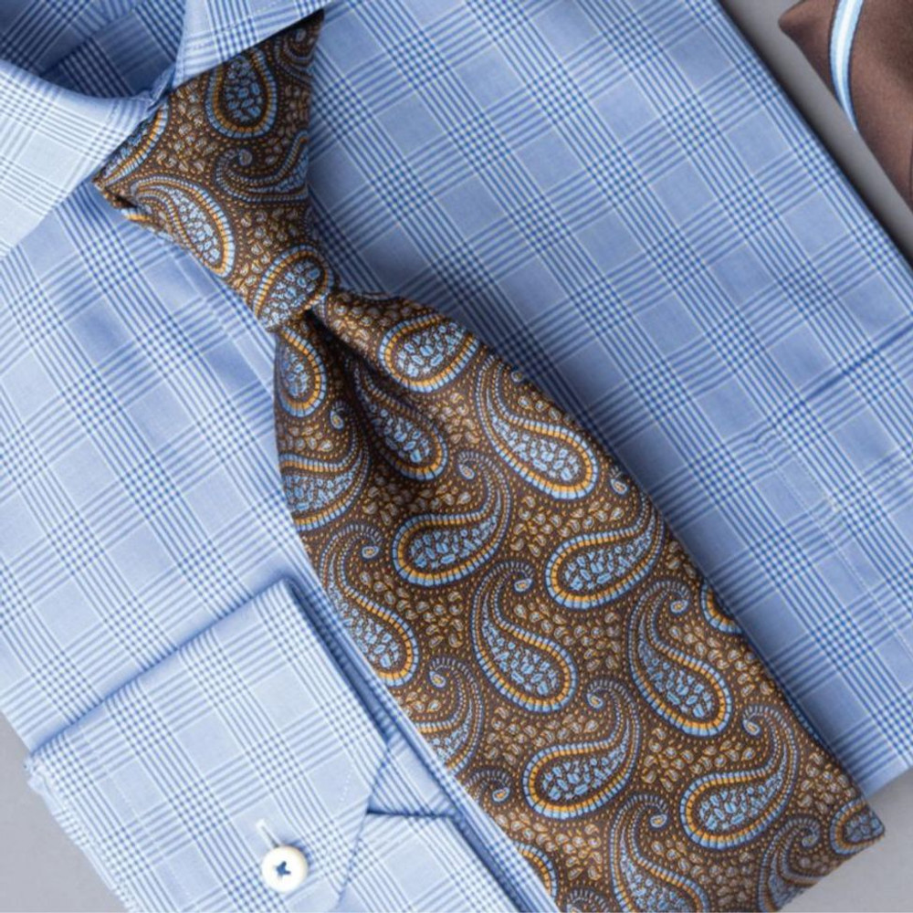 bd1523e9056f Best of Class Brown and Blue Paisley 'Archive' Woven Silk Tie by Robert  Talbott ...