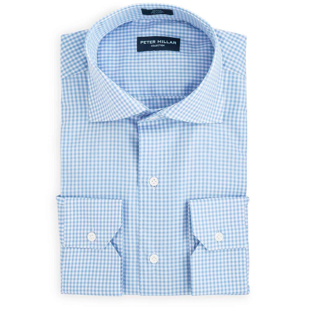 Collection Classic Check Sport Shirt in 	Tarheel Blue by Peter Millar