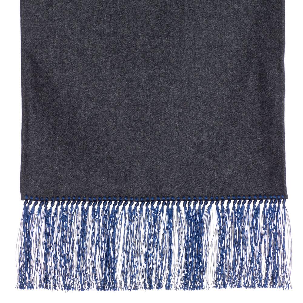 Wool Scarf in Dark Grey with Blue Silk Fringe by Robert Talbott