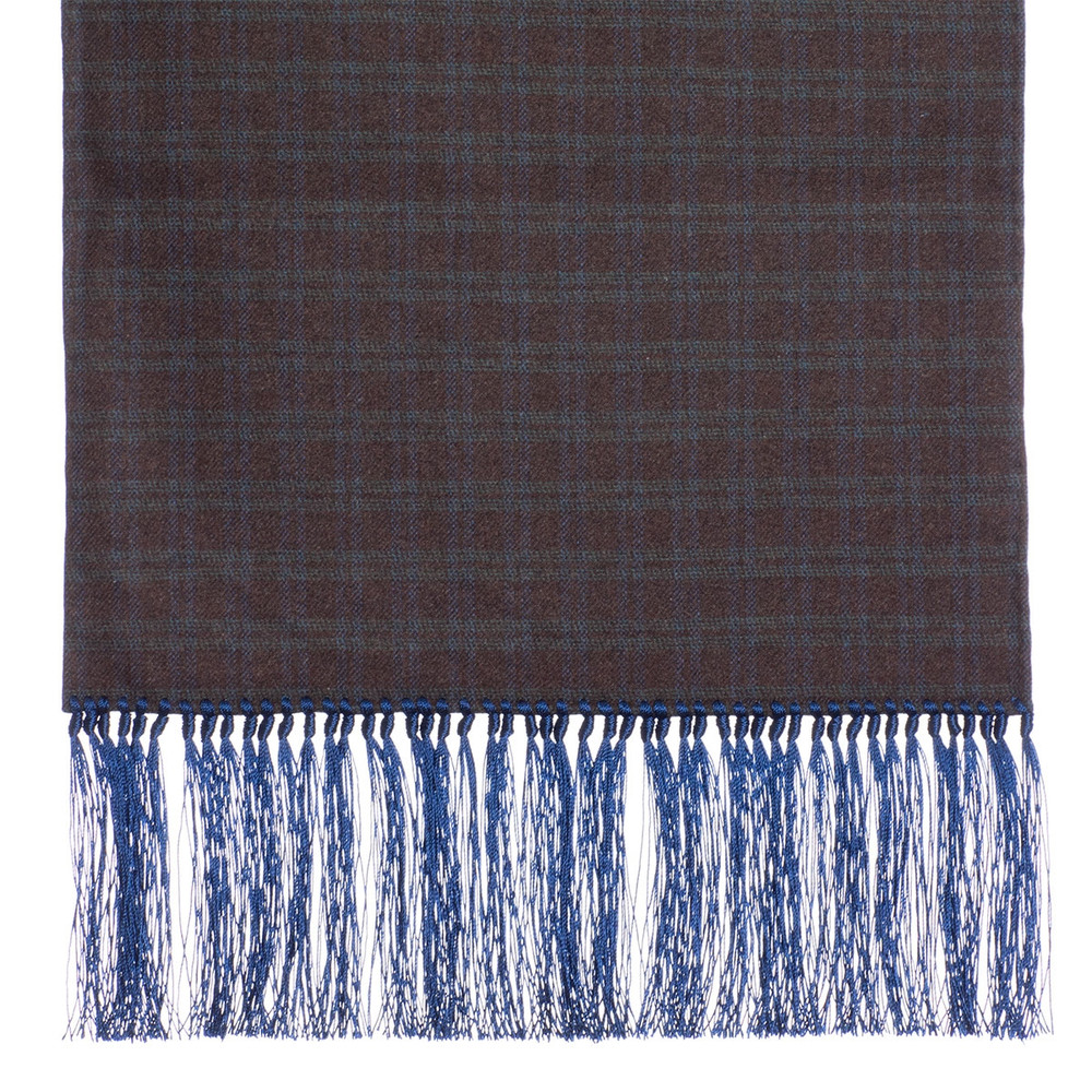 3439b5766bda3 Wool Scarf in Brown and Green Check with Blue Silk Fringe by Robert Talbott  - Hansen's Clothing