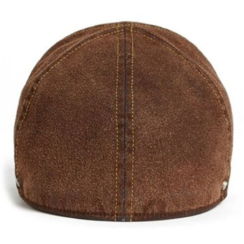 'Fredrik' Brown Sueded Denim Baseball Cap with Earflaps (Size 56) by Wigens