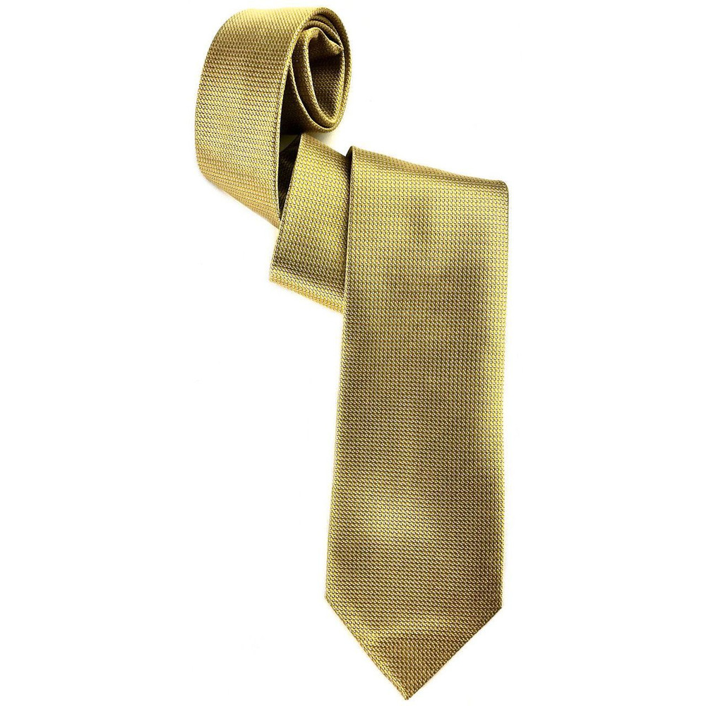 Gold and Pale Grey Pindot Woven Silk Tie by Robert Jensen