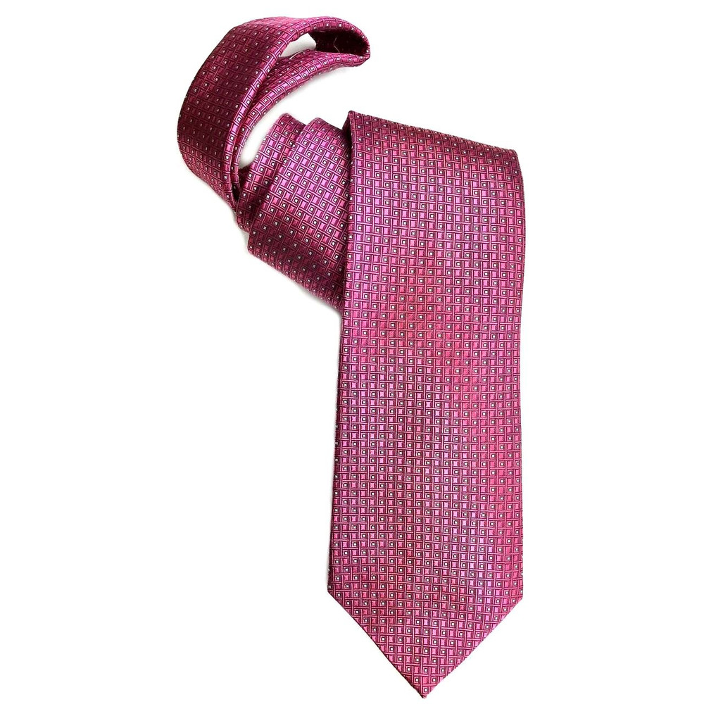 Pink and Pale Grey Geometric Squares Woven Silk Tie by Robert Jensen