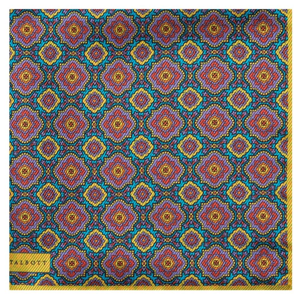 Medallion Reversible Silk Pocket Square in Lemon, Aqua, and Lavender by Robert Talbott