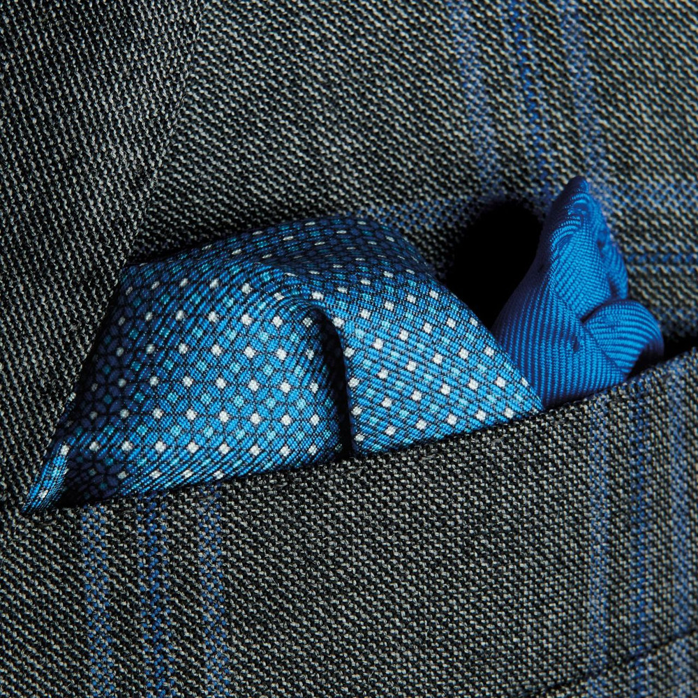 Blue Geometric Silk Pocket Square by Robert Talbott