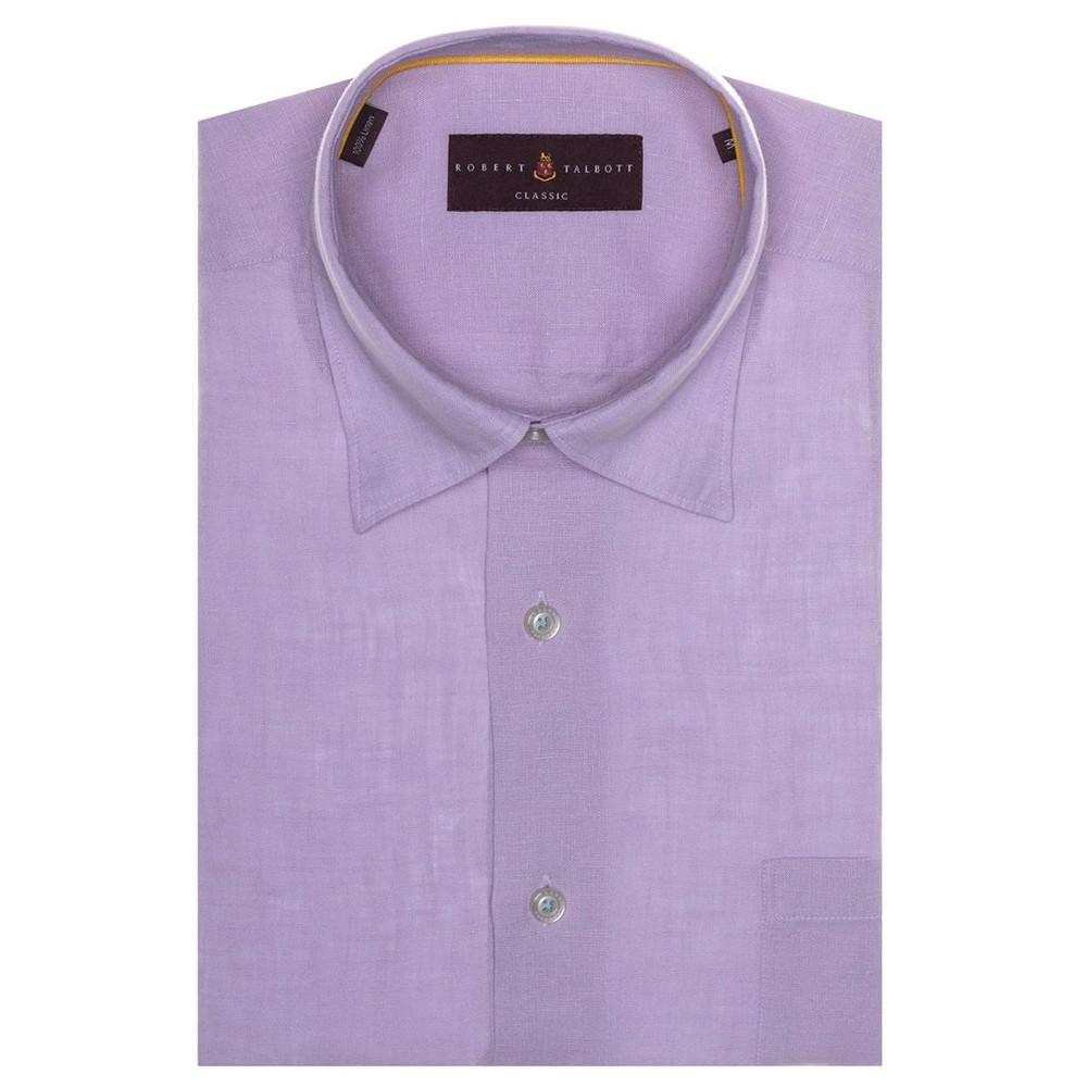 Solid Lilac 'Anderson II' Linen Sport Shirt by Robert Talbott