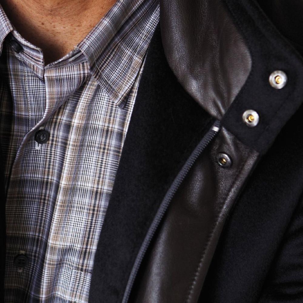Black, Silver, and Tan Multi Twill Plaid Sport Shirt by Robert Talbott