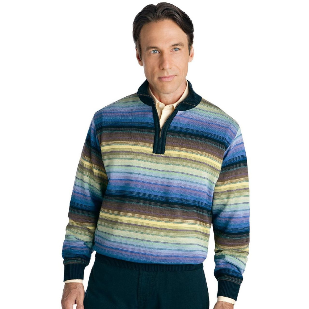 Multi-Color Cotton Blend Half Zip Pullover (Size Large) by St. Croix