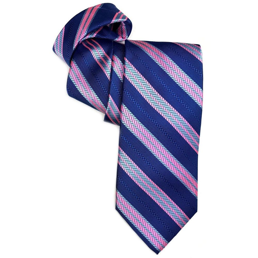 Best of Class Blue and Pink Herringbone Stripe 'Welch Margetson' Woven Silk Tie by Robert Talbott