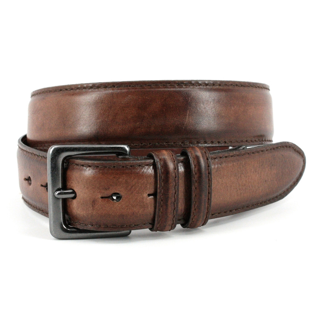 Antiqued Shrunken Cowhide Shoulders Leather Belt in Brown by Torino Leather Co.