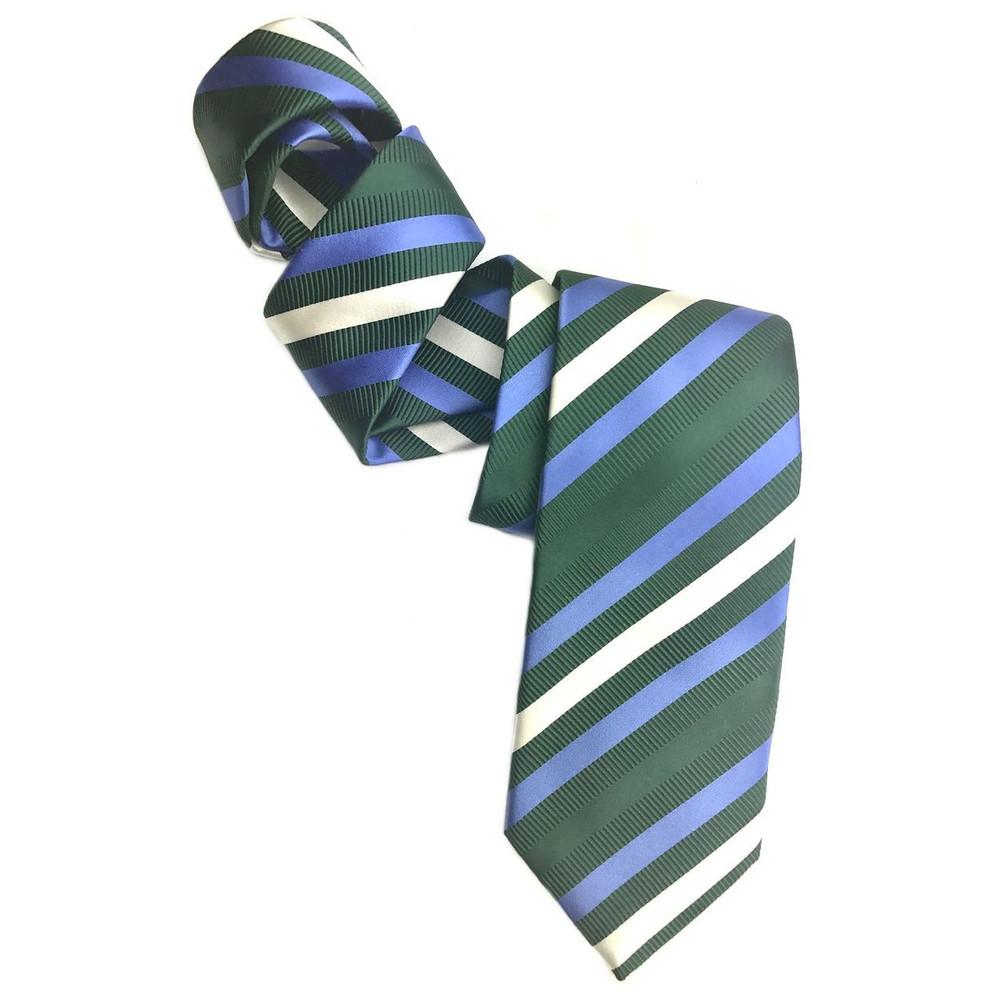 Green, Blue, and Cream Mogador Stripe Woven Silk Tie by Robert Jensen