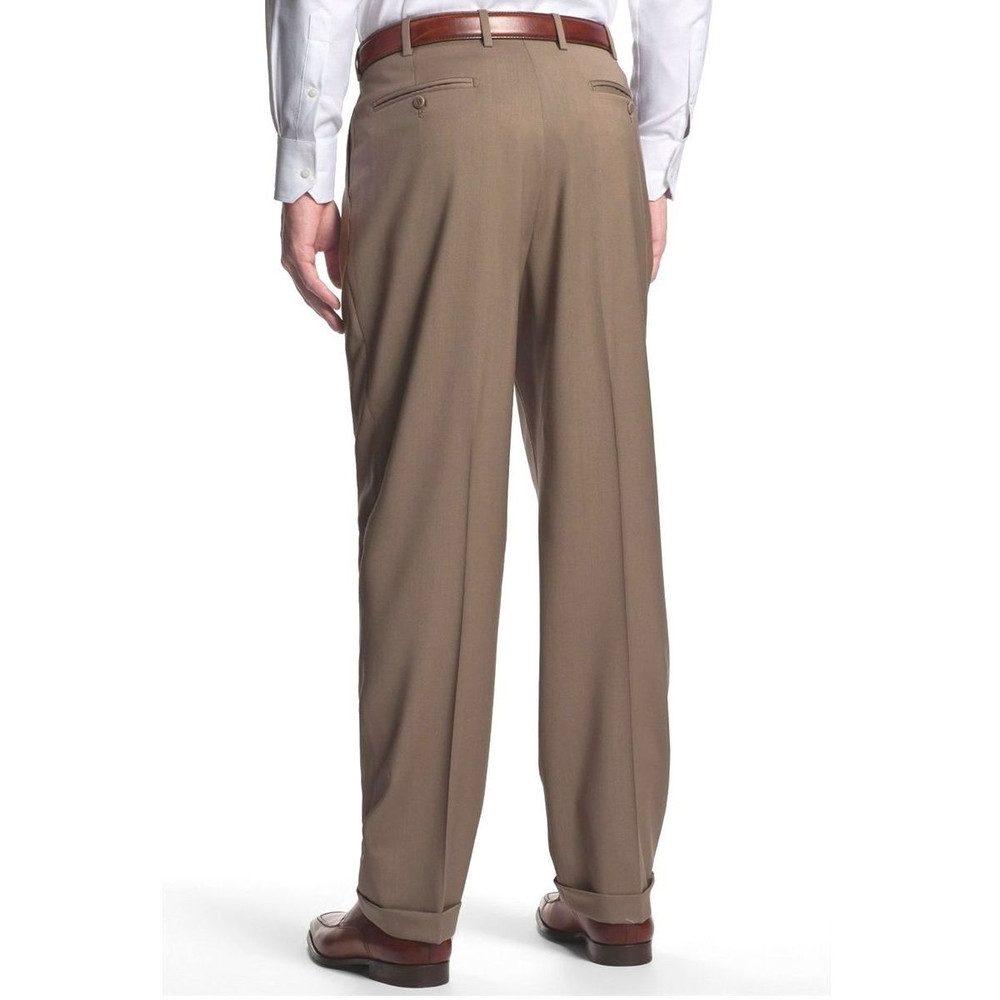 'Bennett' Double Reverse Pleat Luxury 120's Wool Serge Pant in Tan by Zanella